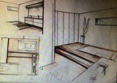 Avant projet salle de bain bois et blanc