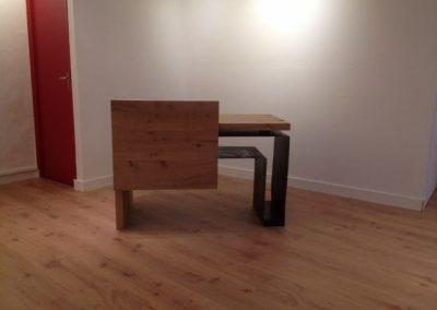 Bureau galerie bois brut et acier verni