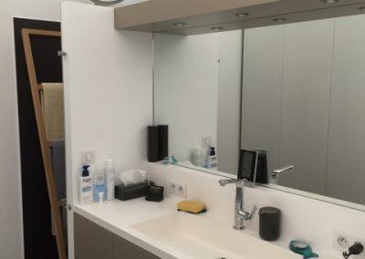 Meuble salle de bain bois et corian