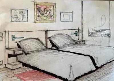 Tête de lit avec chevets mobiles