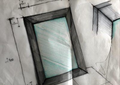 Miroir avec cadre acier