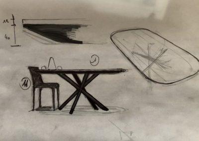 Avant projet table plateau céramique pieds acier