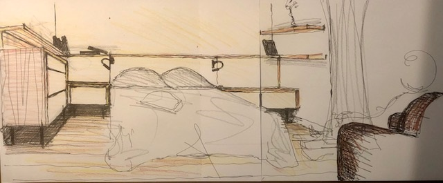aménagement chambre à coucher entre murs