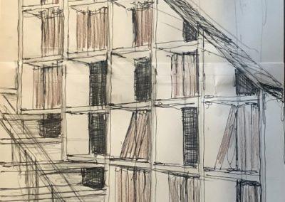 Bibliothèque sur escaliers