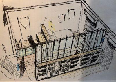 Avant projet séparation bibliothèque rangement et verrière atelier