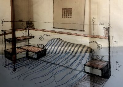 Avant projet tête de lit bois et laque