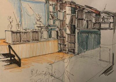 Esquisse bibliothèque bureau