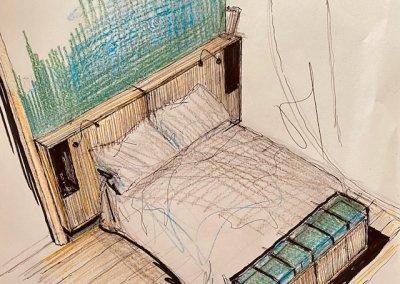 Étude tête de lit murale bois